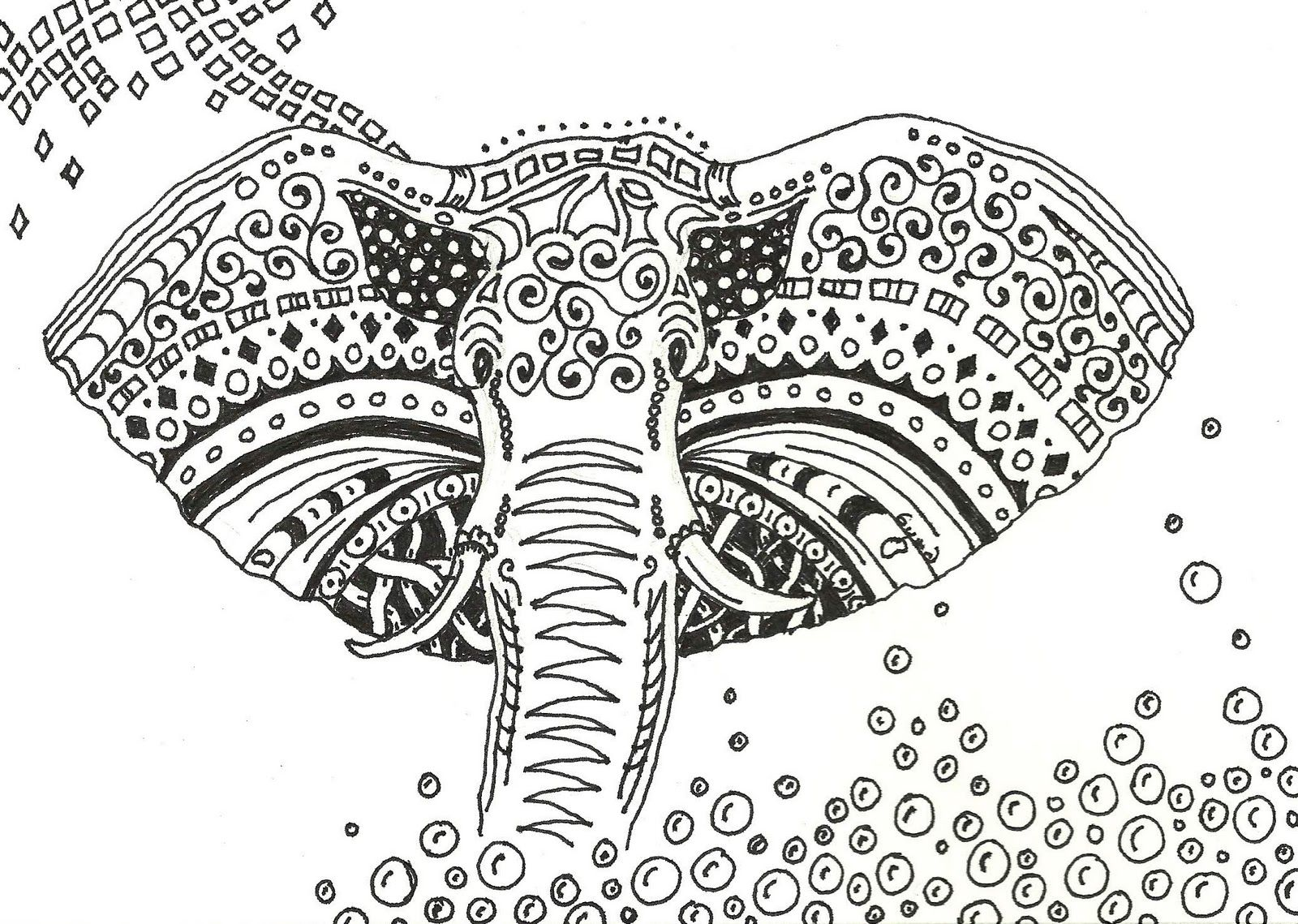 Indian Elephant Coloring Pages For Adults 73