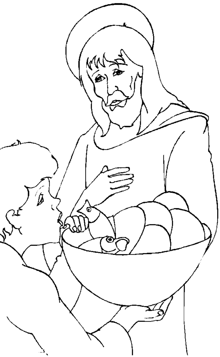 Jesus With Little Children Coloring Page - Coloring Home