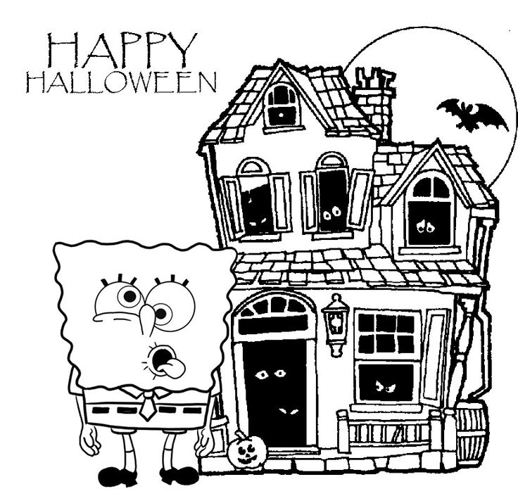 Spongebob Halloween Coloring Page - Coloring Home