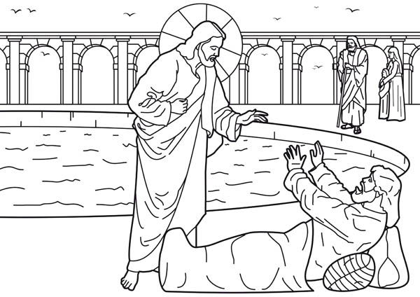 Pool of bethesda | healing the man | coloring page