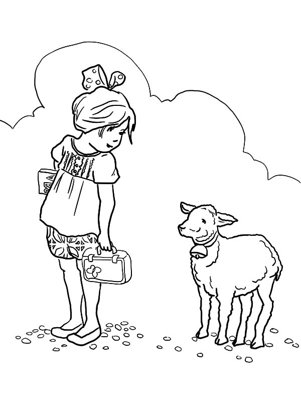 Mary Had A Little Lamb She At Her Coloring Pages