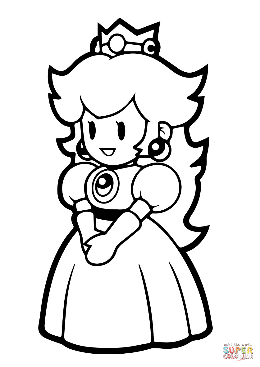Paper Princess Peach Coloring Page