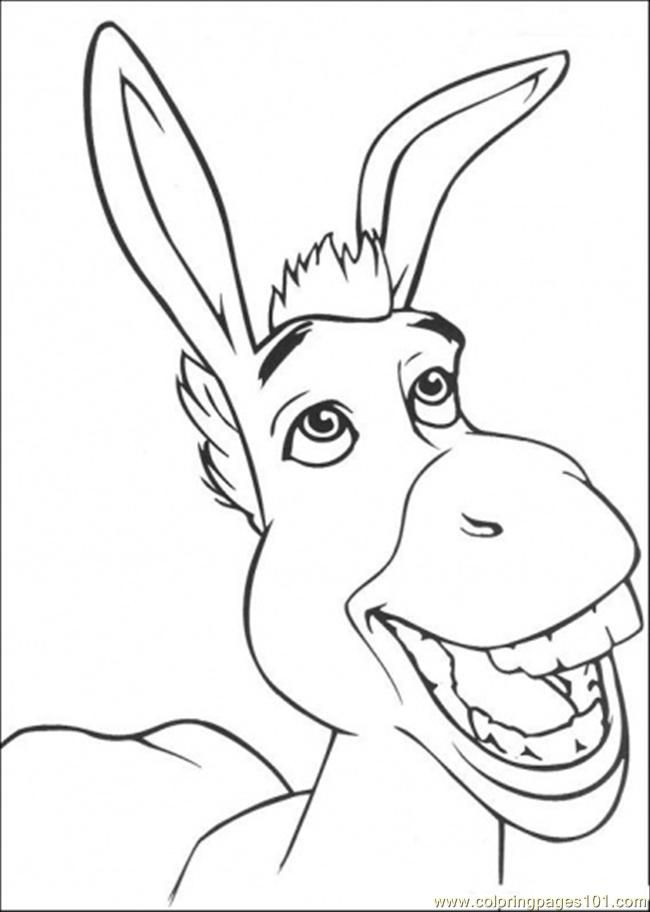 Coloring Pages Smiling Donkey (Cartoons > Shrek) - free printable
