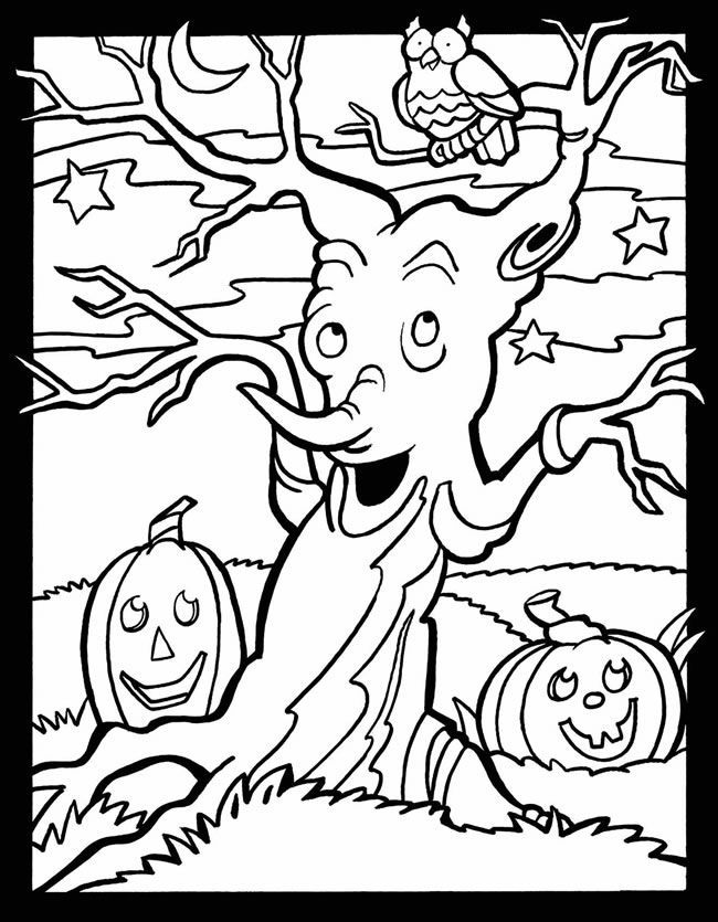scary halloween tree coloring pages - photo#16
