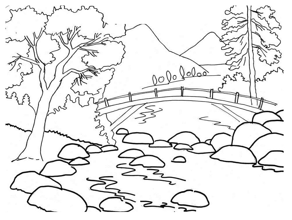Mountains Coloring Page AZ Coloring