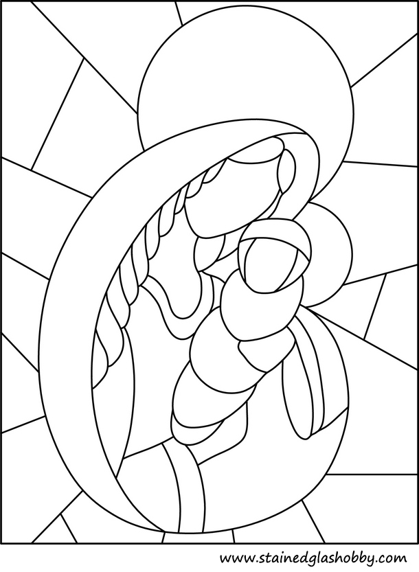 simple stained glass coloring pages - photo#26