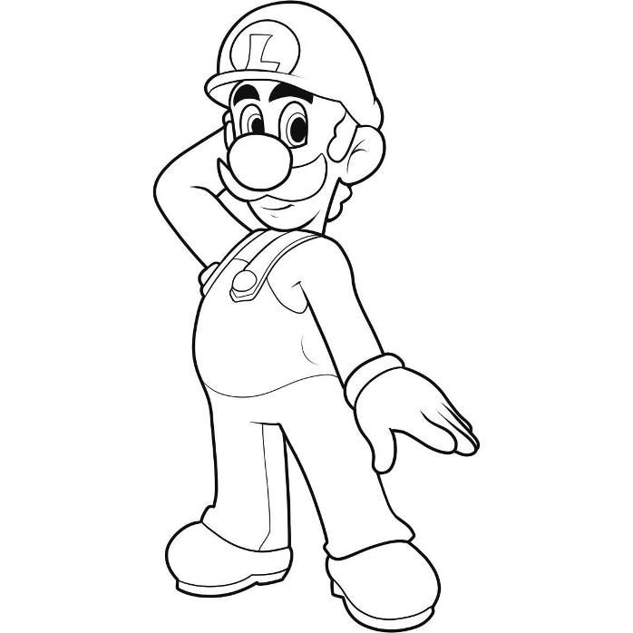 Luigi picture to colour for kids : - Coloring Guru