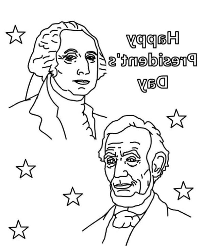 Happy Presidents Day With Lincoln And Washington Coloring Pages