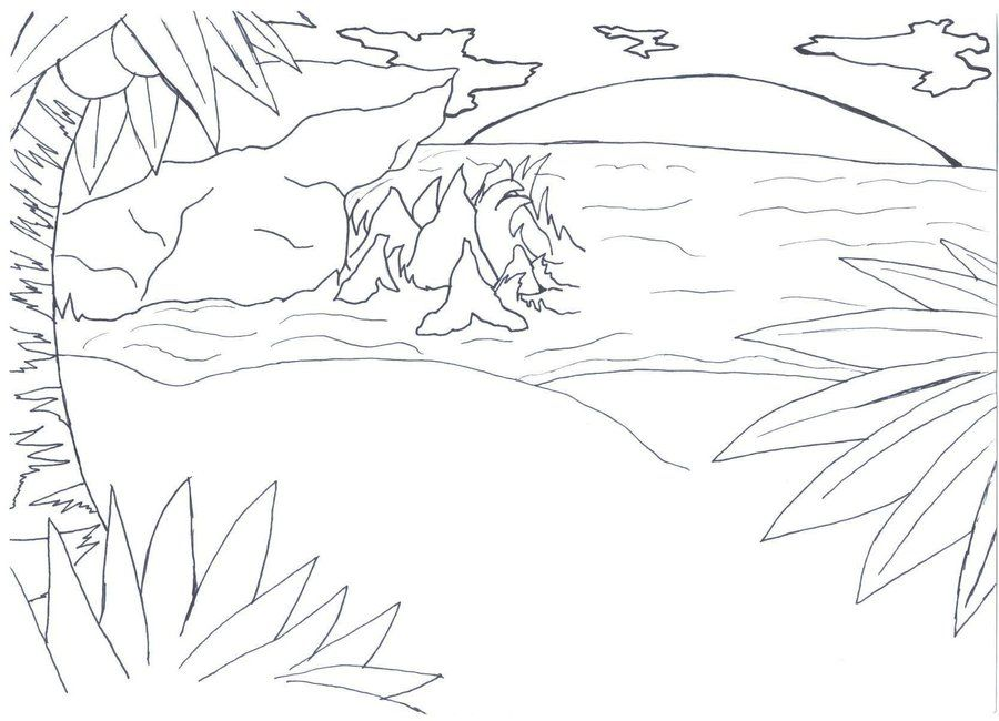 Amazing Sunset Beach Coloring Pages For Kids   Great ...