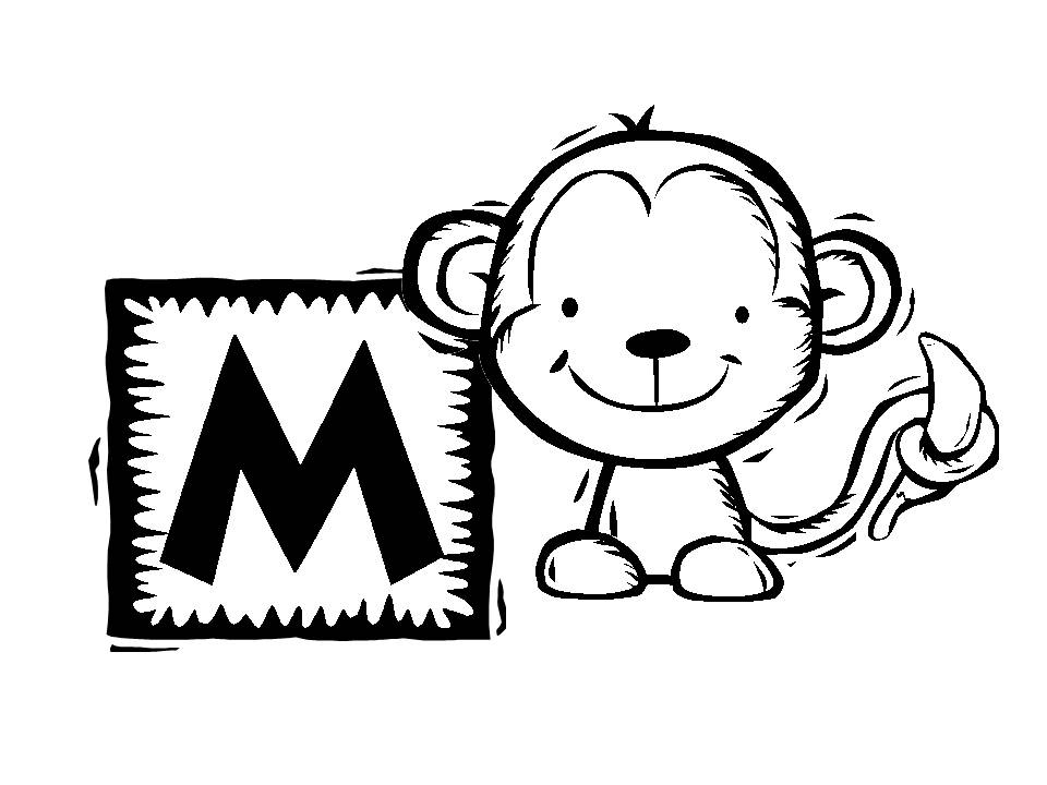 m for monkey coloring pages - photo #37
