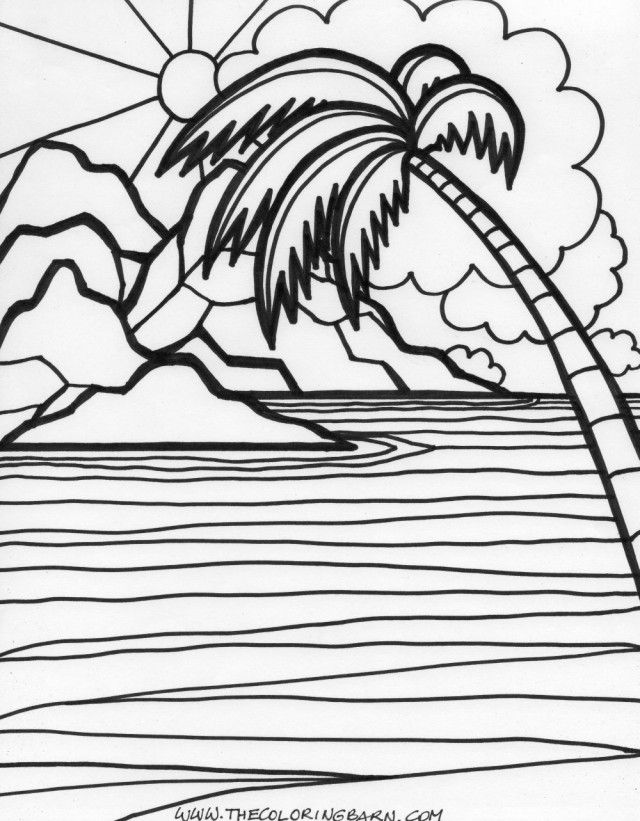 Tropical sunset coloring pages coloring pages for Sunset coloring pages for adults