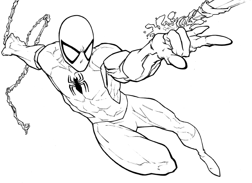 Spiderman Drawing Color Spiderman Color Pages Free