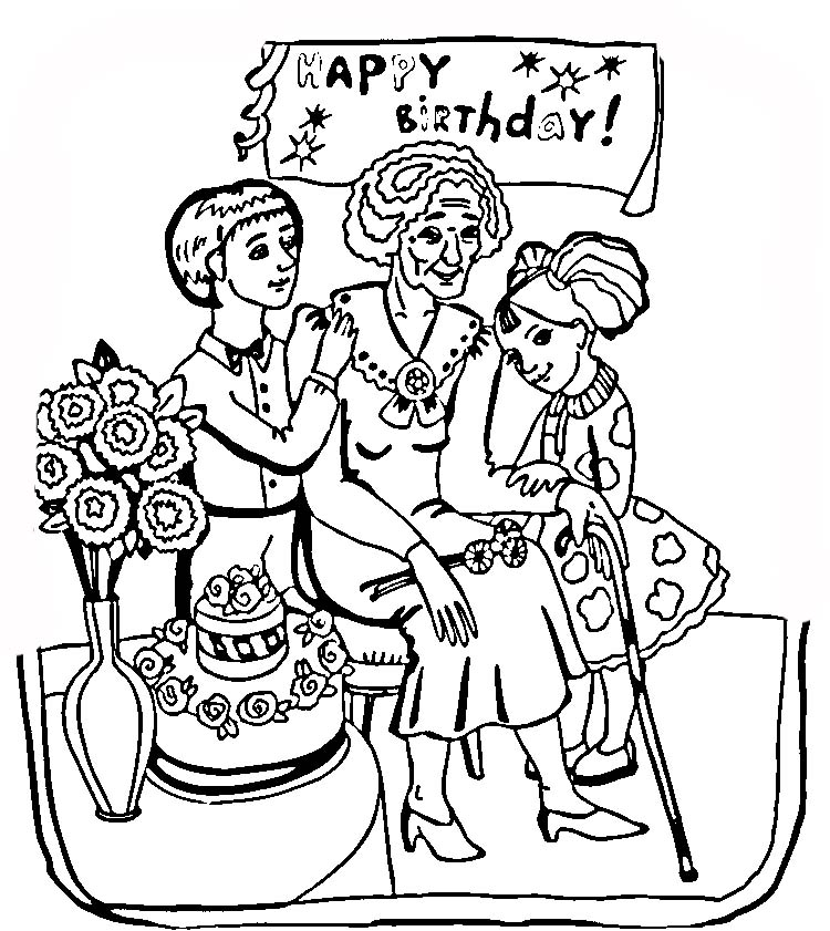 Free Printable Coloring Birthday Cards For Grandma - AZ Coloring Pages: azcoloring.com/coloring-page/218480