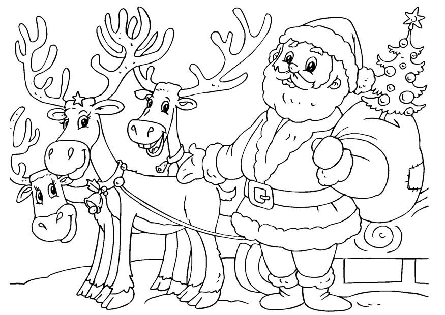 santa and reindeer coloring page  az coloring pages, printable coloring