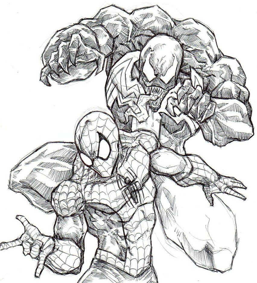 Spiderman Vs Venom Coloring Page - Coloring Home