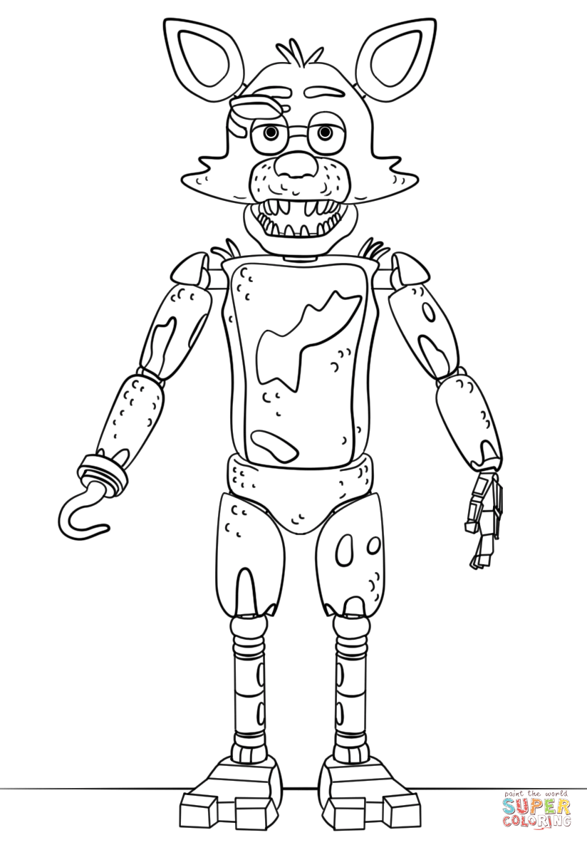 FNAF Toy Foxy coloring page | Free Printable Coloring Pages