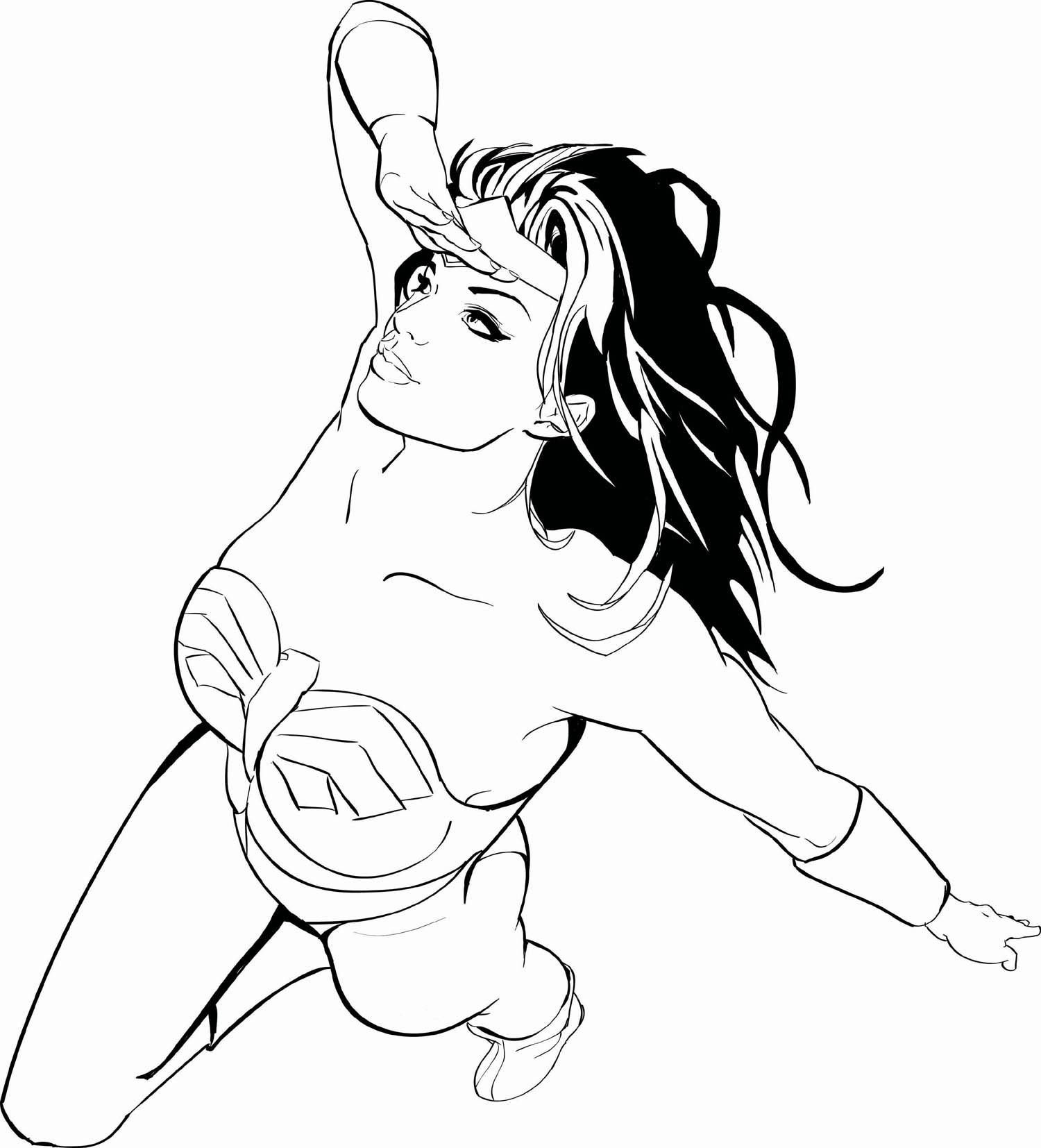 Wonder woman clipart colouring page - ClipartFest