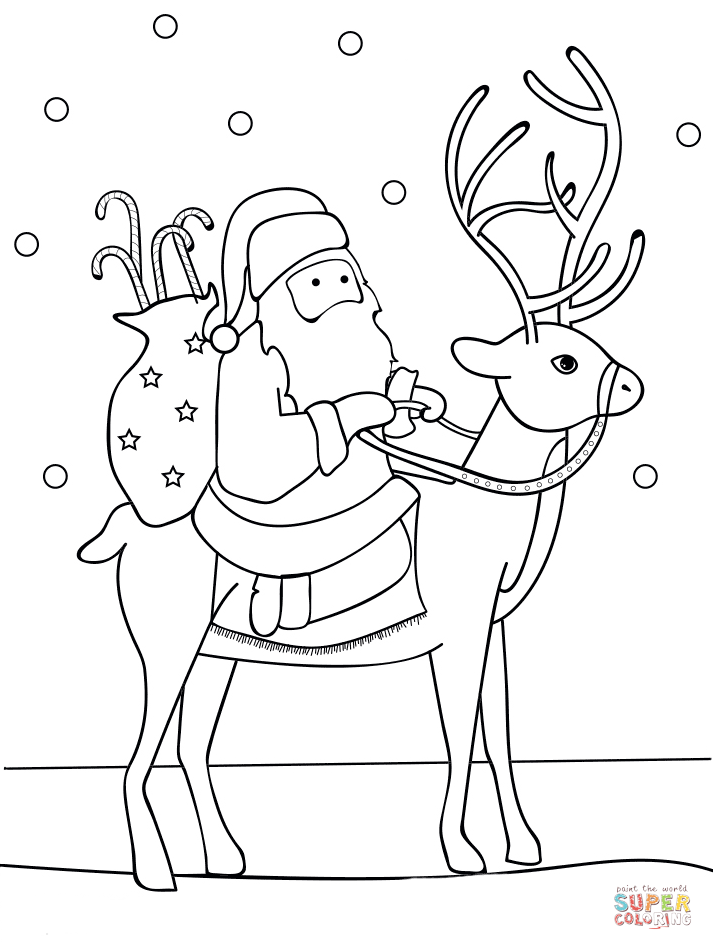 Santa reindeer coloring pages - animalcarecollege.info