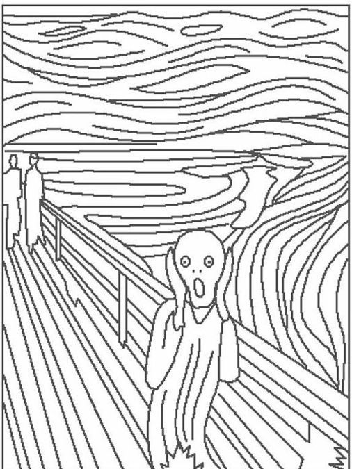 The Scream coloring page | Famous art coloring, Famous art, Art lessons