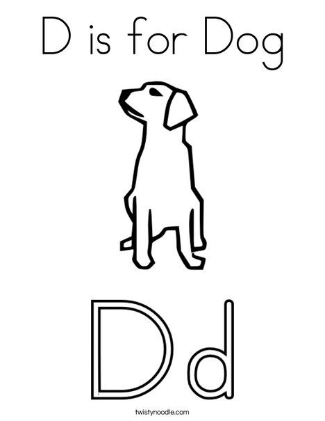 D is for Dog Coloring Page - Twisty Noodle | Coloring pages, D is for dog, Dog  coloring page