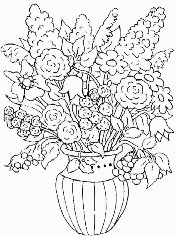 Flower in the Vase of Nature Coloring Page | Color Luna