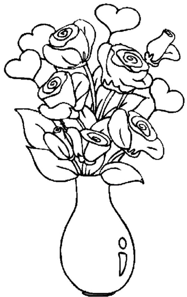 Hearts and Roses in the Vase Coloring Page | Color Luna