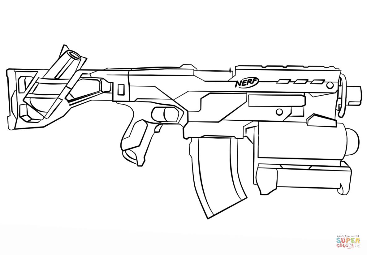 Nerf Gun Coloring Page Free Printable Coloring Pages Coloring Home