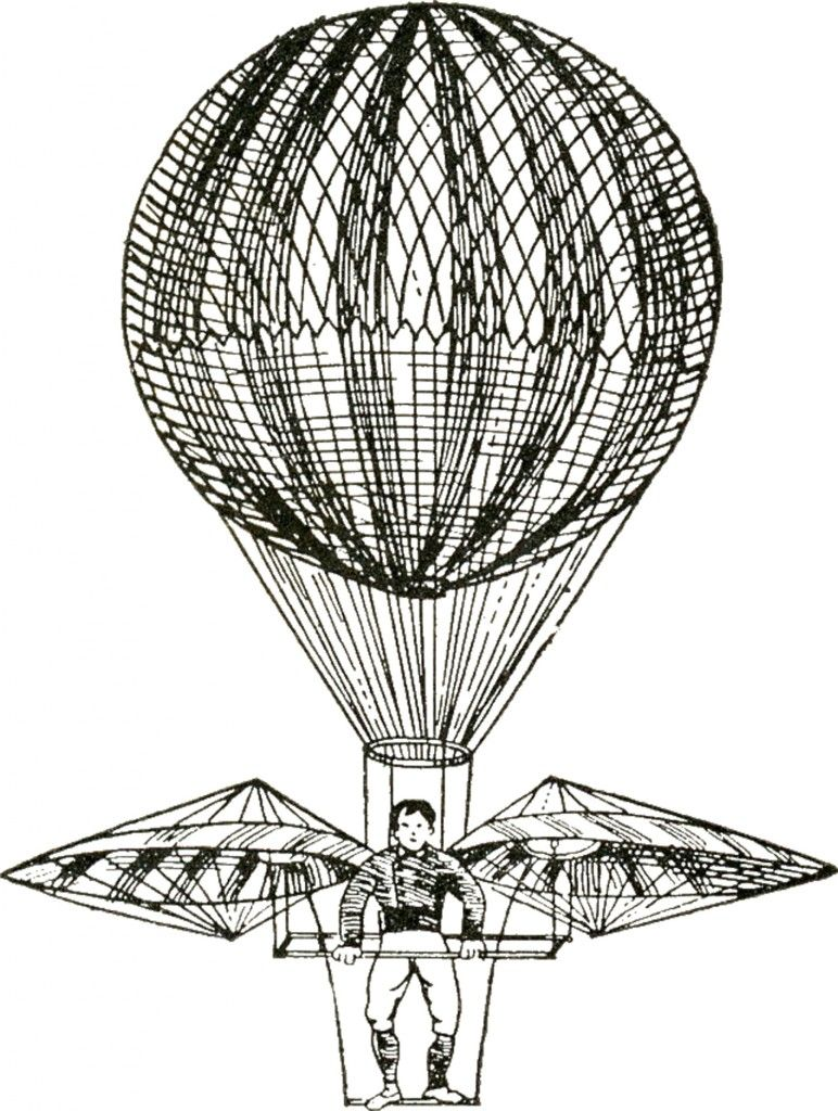 Vintage Hot Air Balloon Coloring Page - Coloring Home