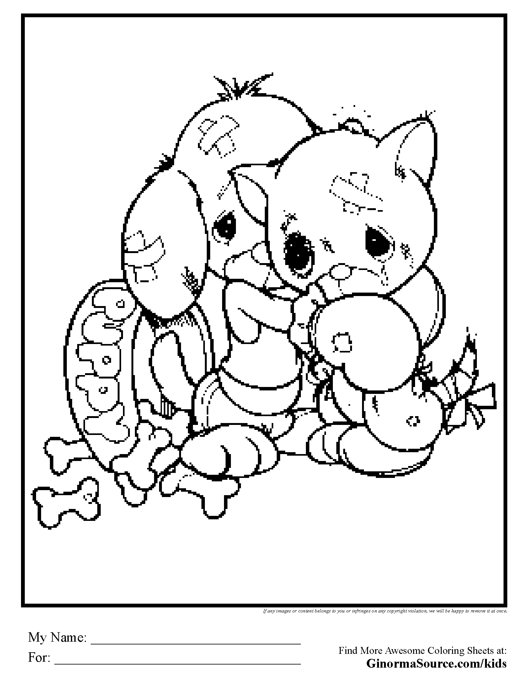 - Puppy And Kitten Coloring Page - Coloring Home