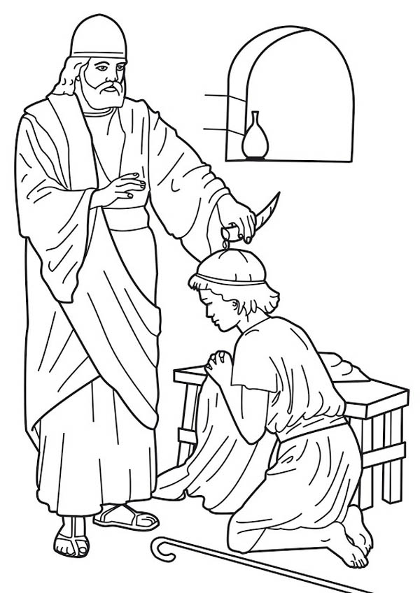 David Becomes King Coloring Page