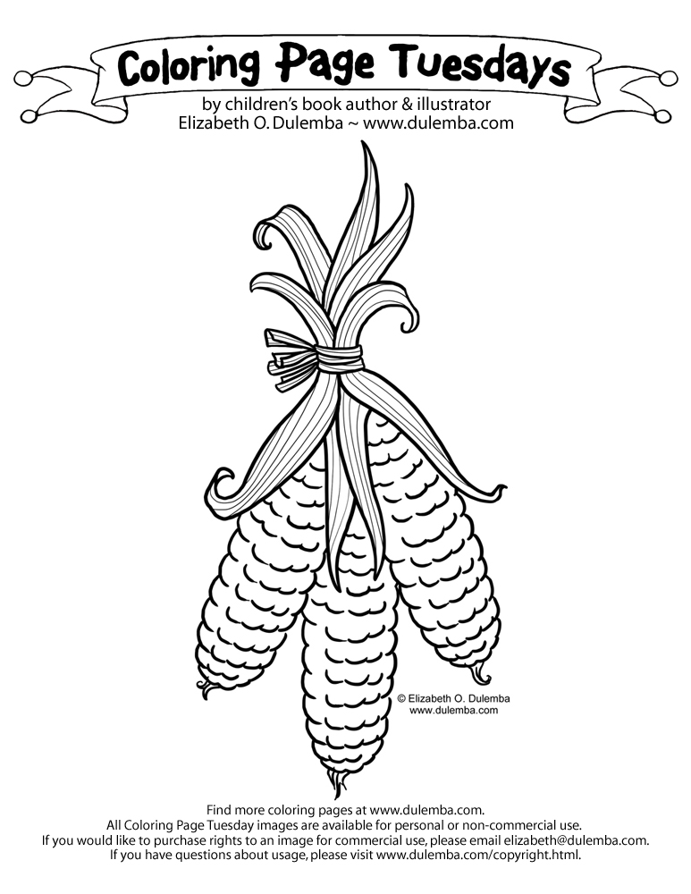 indian corn coloring pages - photo#25