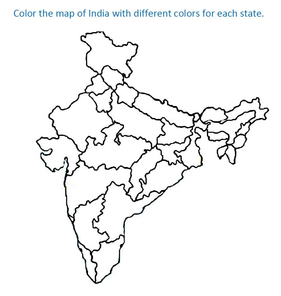 Map of India for kids