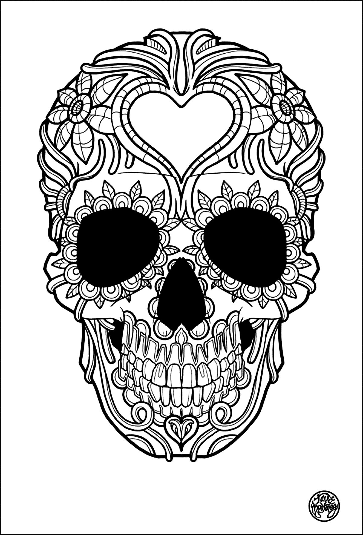 - Sugar Skull Coloring Page - Coloring Home