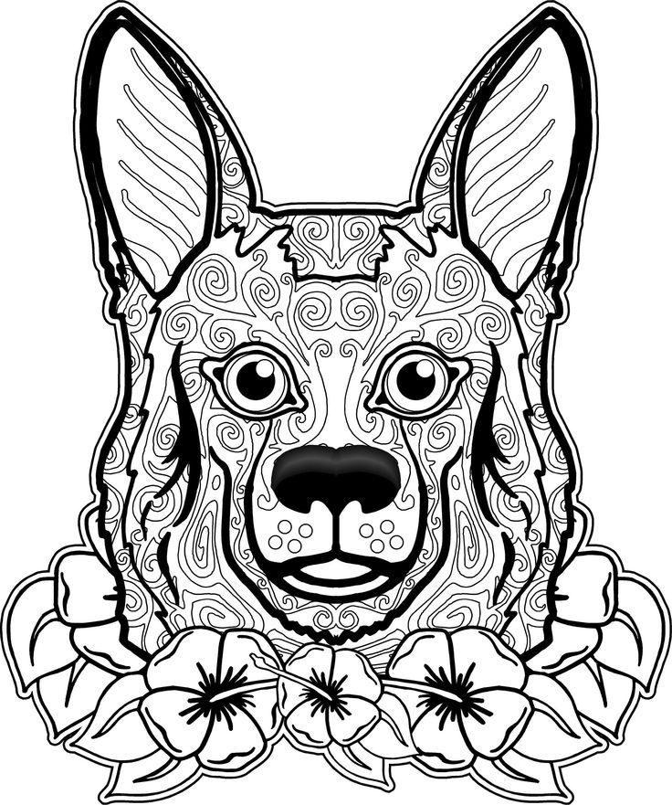 This is an image of Critical Adult Coloring Page Dog