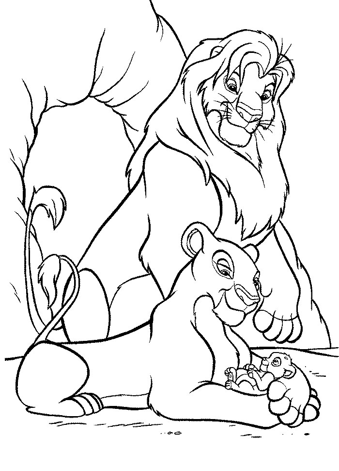 Free coloring pages of mufasa and nala