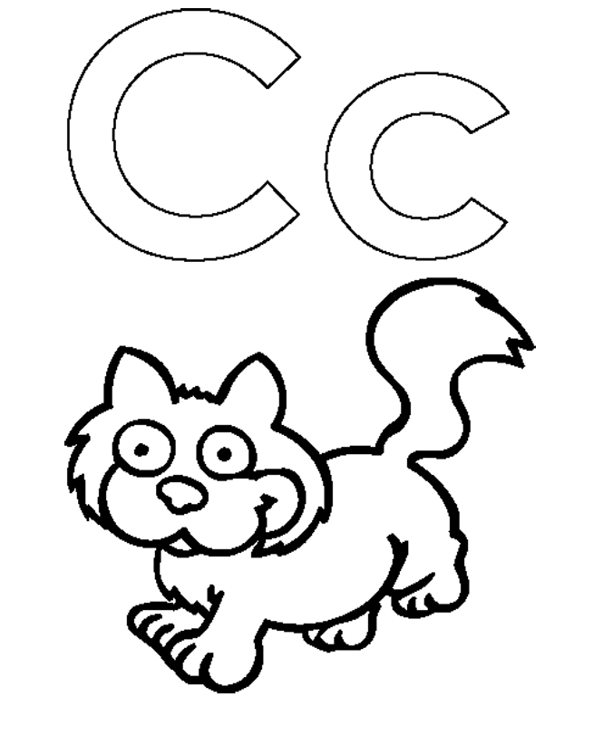 Letter c and cat cute coloring for kids activity for C for cat coloring page