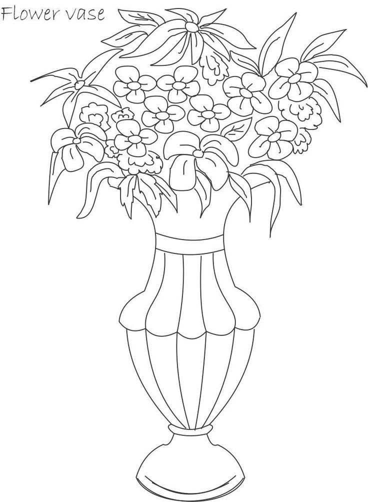 Flower Pot Coloring Page Coloring Home