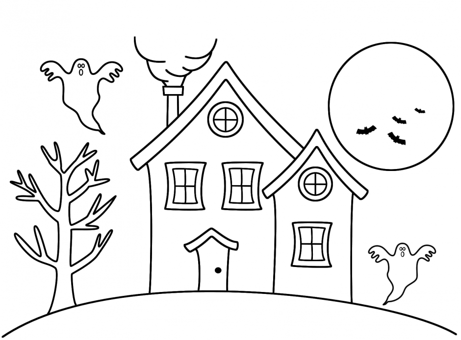 Houses Coloring Pages Happy Halloween Coloring Pages Haunted House