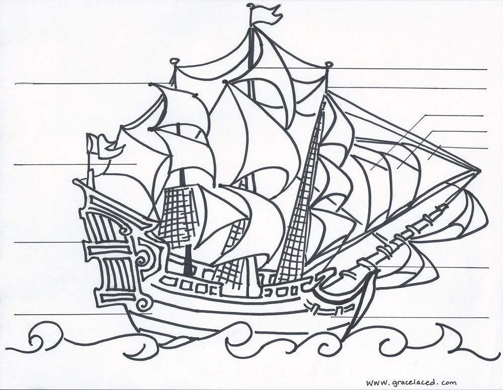 pirate ship coloring page az coloring pages