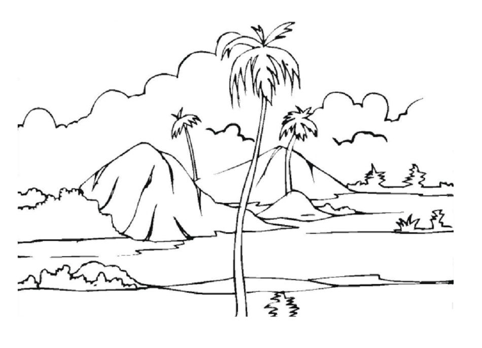 desert landscape coloring pages printable - photo#10