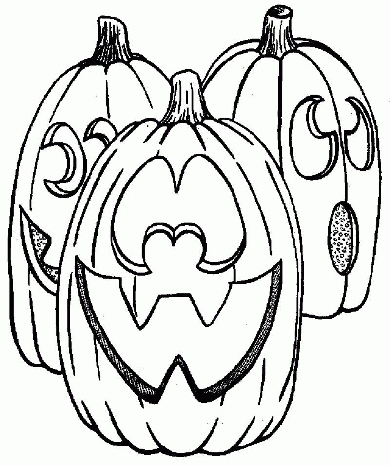 Spooky 3 Pumpkins Halloween Coloring Page - Kids Colouring Pages