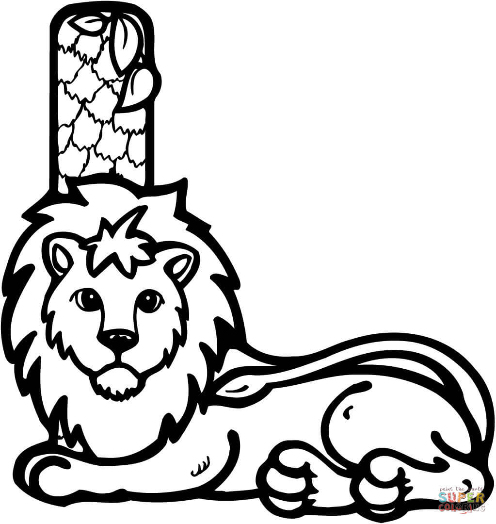 letter l is for lion coloring page free printable coloring pages - Lion Coloring Pages