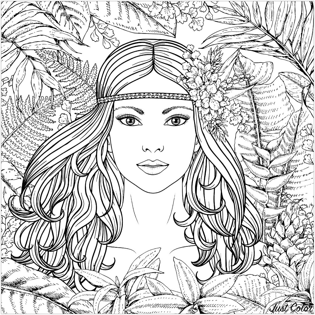 Forest woman potrait - Jungle & Forest ...justcolor.net