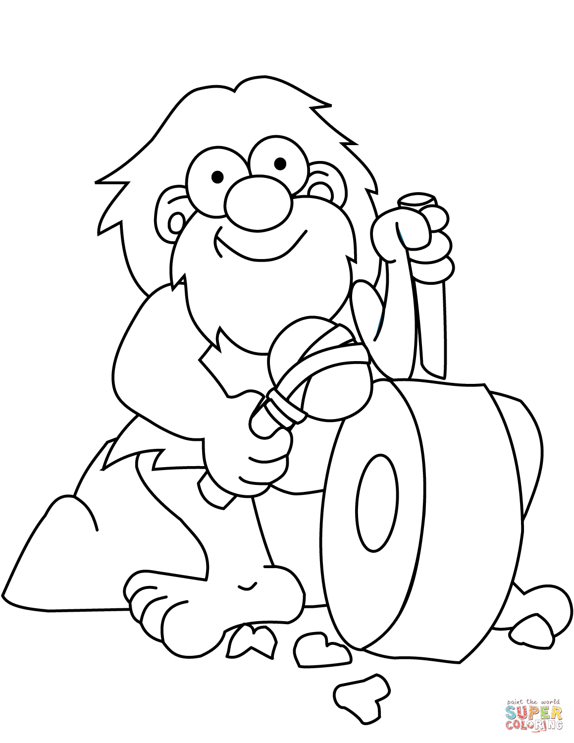 Caveman Sharpen Axe And Knife Coloring Page Free Printable Coloring Home