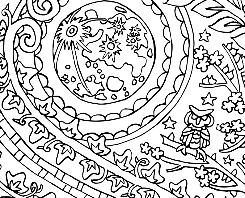 Yin Yang Moon and Sun - yin yang coloring page by Candy Hippie
