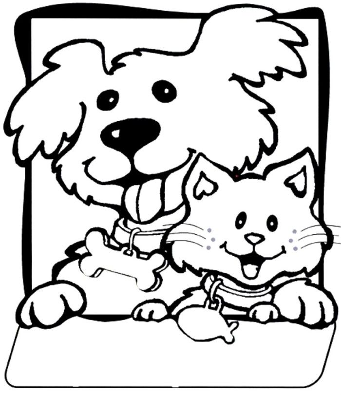 Color Dogs And Cats Cute Cat And Dog Coloring Pages ...