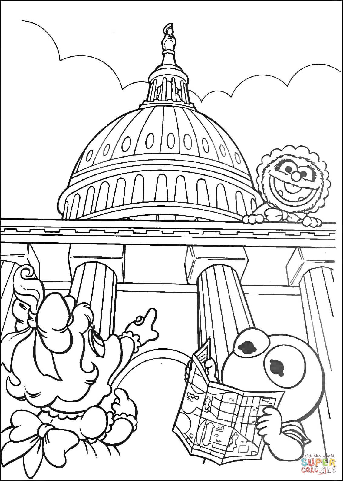 Muppet Babies In Washington D C Coloring Page Free Printable Coloring Home