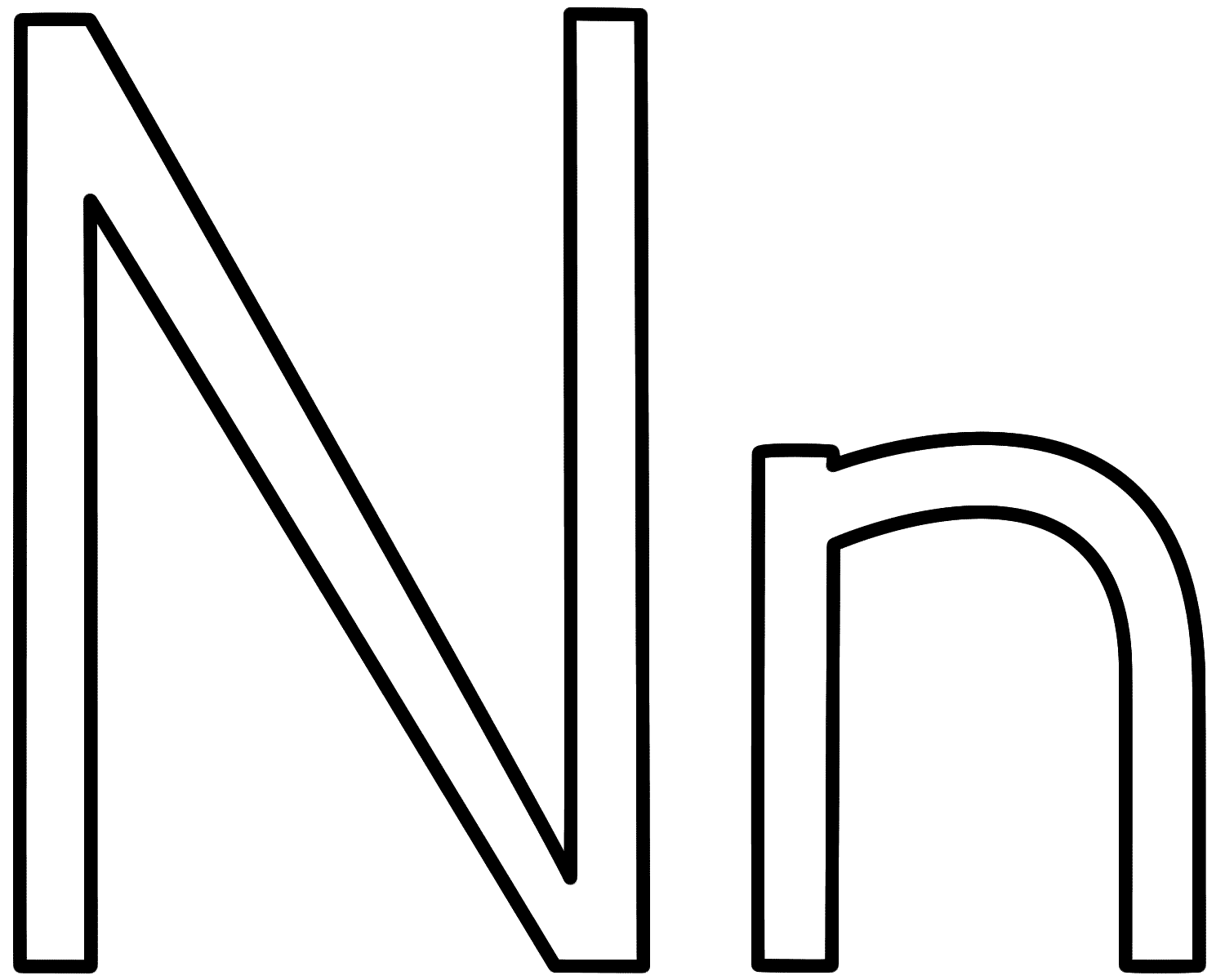 Letter N - Coloring Page (Alphabet)