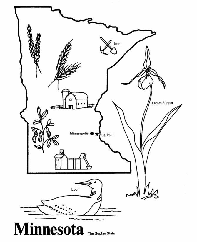 Minnesota State Quarter Coloring Page | USA - State Quarters ...