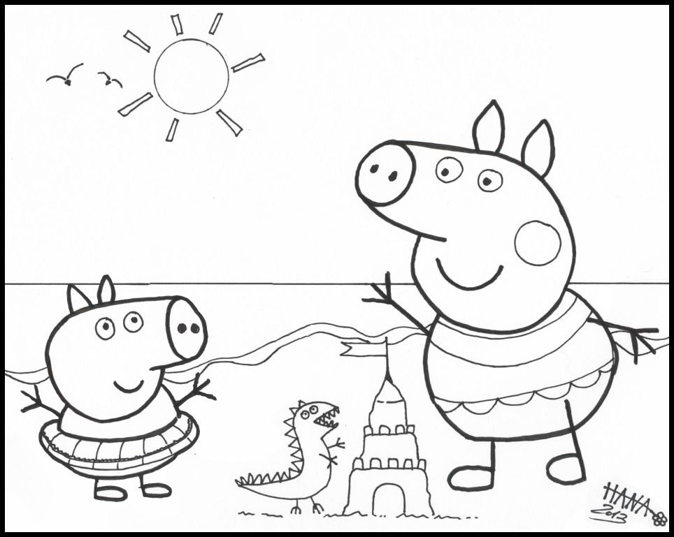 15 pics of peppa pig swimming coloring pages peppa pig family